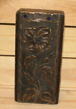 Vintage hand made floral wood box with copper ornaments