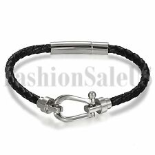 "7.9"" Mens Women Leather Wrap Wristband Cuff Punk Magnetic Buckle Bracelet Bangle"