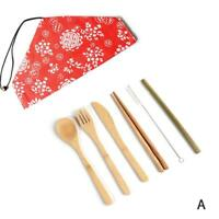 1 Set Chinese style Cutlery Travel Eco-friendly Fork Spoon Straw Portable Bamboo
