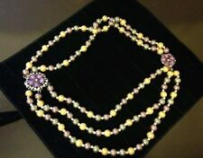 3 STRAND PEARL NECKLACE MAUVE,TAUPE,GOLD 24 INCH