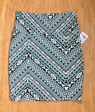 Charlotte Russe Skirt Bodycon Stretch Geometric Teal Black White Size S NWT