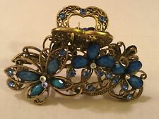 """LARGE GORGEOUS HAIR CLIP WITH BUTTERFLY & FLOWERS! BLUE STONES GOLD ALLOY 3 1/2"""""""
