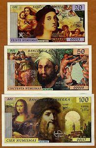 SET Kamberra,  20;50;100 Numismas, 2015-2020, UNC > Giants of Renaissance