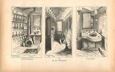 Chemin de fer wagon-lit calorifère thermosiphon cabinet de toilette GRAVURE 1884