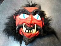 Used Adult Size Rubber Halloween Mask w/Full Furry Hair-Devil w/Horns Scarry