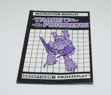 Squeezeplay Action Figure Robot Instruction Manual 1988 Hasbro G1 Transformers