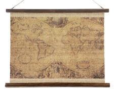 Schulwandkarte Atlas Weltkarte Wandbild Nostalgie Leinwand 65x50cm