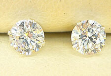 925 STERLING SILVER DIAMOND STUD EARRINGS 5mm ROUND CREATED CLEAR STONE UK sellr