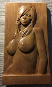"""Nude Bas-Relief PORTRAIT 9.5"""" x 5"""" x 1.25""""  Free Standing - Wood Carving #4"""