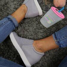 Ladies Grey Trainer Sneaker Diamante Casual Wedge Mid Heel Slip On Size 5
