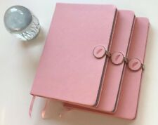IDNY Pink Leather Journal Leather Writing Notebook Hardcover w Magnetic Closure
