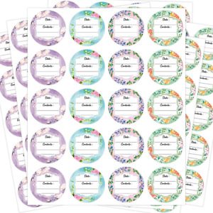 Canning Labels Stickers 4 Floral Designs 2 Inch Large Round 300 PCS for Containe
