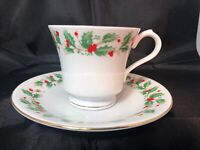 China Pearl Fine NOEL Footed Cup Saucer Set Christmas Holly Berry Holiday