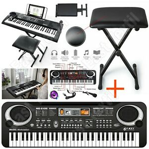 61 Keys Digital Music Electronic Keyboard Piano Microphone With Bench Stool Seat