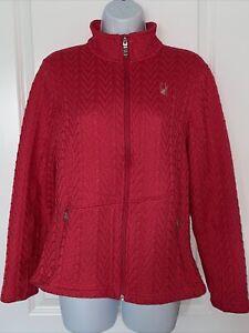 Spyder Womens Core Cable Knit Sweater Jacket Full Zip  Pink Sz Large EUC Fleecy