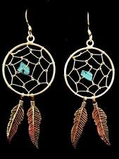 Sterling Silver Turquoise Dream catcher feather Earrings Native American Indian