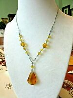 "Vintage 16"" Silver Tone Art Deco Amber Crystal Necklace & Pendant"