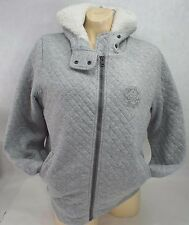 New Womens CONVERSE MEDIUM Grey Faux Wool Hoody Jacket $110 11905C