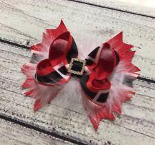 Handmade Santa Christmas Holiday Feather Boutique Hair Bow