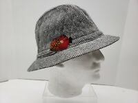 Dorfman Pacific Mens Gray Fedora Hat- Chevron Tweed- Sz XL