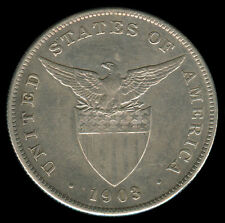 1903 US Philippines 1 PESO Crown Size Silver Coin - Stock #Z4