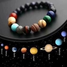 Unisex Acht Planeten Perlen Armband Naturstein Universum Yoga Chakra Armreif DE