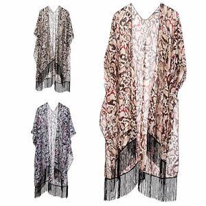 New Women Tassels Kimono Open Cardigan Blouse Tops Jacket Blouse Swimwear