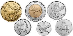 BOTSWANA ANIMALS 6 COINS SET 5, 10, 25, 50 THEBE + 1, 2 PULA BIMETAL UNC 2013