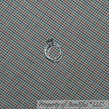 BonEful FABRIC FQ Cotton Quilt VTG Brown Blue Red Green Country Sm Gingham Check