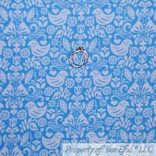 BonEful FABRIC FQ Cotton Quilt Light Blue White Bird Heart America*n Flower Dot