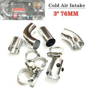 Car Cold Air Intake Tube Injection Pipe 3'' 76MM Aluminum Filter Hose System Kit