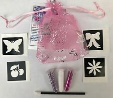 10 Glitter Tattoo Mini Kits Plus 10 FREE party bag filler 4 Stencils GIRLS BOYS