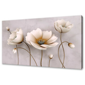 BEAUTIFUL WHITE BROWN FLOWERS ABSTRACT DESIGN CANVAS PRINT WALL ART PICTURE