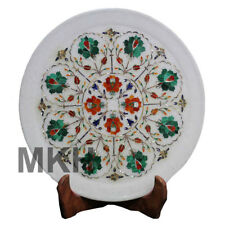 """12"""" Marble Plate Inlay Wall Decorative Plaque Serving Stone Vintage Marquetry"""