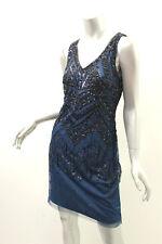 ADRIANNA PAPELL Deep Blue Sleeveless Beaded Dress 4 $300