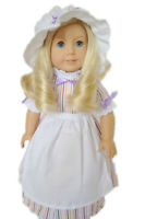 """Doll Clothes 18"""" Colonial Dress Stripe Lavender Pink Apron Mob Cap Fits AG Doll"""