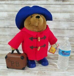 """Vintage Paddington Bear Collectors 14"""" Plush Red Coat Suitcase Harrods Tag"""
