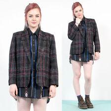 Para mujer Vintage Negro Cuadros Cuadros Rosa Blazer inteligente chaqueta país Trabajo 12