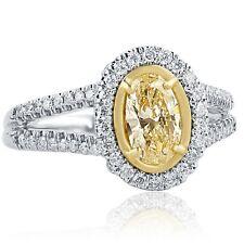 1.16 Ct Oval Cut Yellow Diamond Engagement Halo Ring 14k White Gold Split Shank