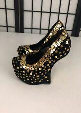 "Shiekh Women's High Heels 5.5"" Sz 6 Black Gold Sequins Wedge Platform Sexy Shoes"