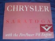 Original Chrysler Saratoga Dealership Book V8 Engine Sedan Coupe Wagon
