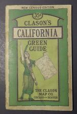 Vintage 1920's Clason's California Green Guide - Maps and Travel Guide