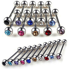 5X Mixed Logo Ball Tongue Bars Rings  Barbells Piercings Stainless Steel JX