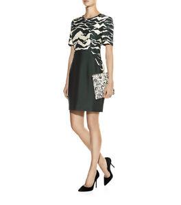 Whistles Mystic Mountain Silk Wool Mix Dark Green Evening Occasion Dress Size 16