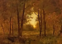 Oil painting george inness - sundown near montclair with forest landscape canvas