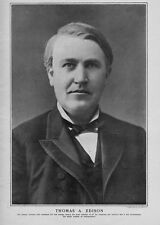 THOMAS A. EDISON FAMOUS INVENTOR OF STORAGE BATTERY GENIUS 1901 PORTRAIT EDISON