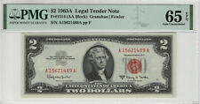 1963 A $2 LEGAL TENDER RED SEAL FR.1514 PMG CERTIFIED GEM UNCIRCULATED 65 EPQ