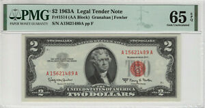 1963 A $2 LEGAL TENDER NOTE CURRENCY RED SEAL FR.1514 PMG GEM UNC 65 EPQ