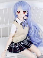"""8-9"""" 1/3 BJD Wig Dal Pullip SD DD Dollfie Doll Wig Wave Blue Hair"""