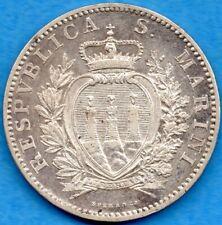 San Marino 1906 R 2 Two Lire Silver Coin - EF+